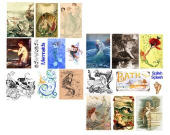 Mermaids digital collage set