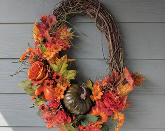 Autumn Oval Grapevine Wreath with Pumpkin, Gourds and Florals