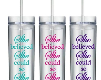 Motivational Water Bottle, Inspirational Tumbler, She believed she could so she did, Inspirational Mug, Tumbler