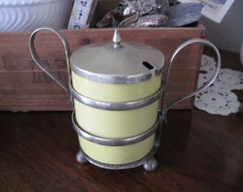 Vintage Jam Jelly  Condiment Jar with Silverplated Caddy Made in England