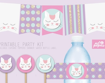 Printable Party Decor - Kitty Party - Cat party - Birthday Girl - Party Decoration - Includes: Banner, cupcake toppers & water bottle labels