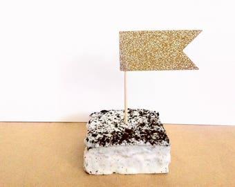 24 Glitter Cupcake Toppers - Gold Glitter - Mini Flag Cupcake Toppers - Cupcake Flags - Bridal Shower - Wedding Decoration - Birthday Decor