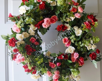 Door Wreath, Roses Wreath, Fall Summer Wreath Handmade Rustic Cottage Wreath