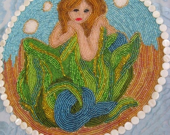 Hawaiian Sparkling Mermaid in Gold Frame  Beaded Wall Hanging by Marianne of Maui