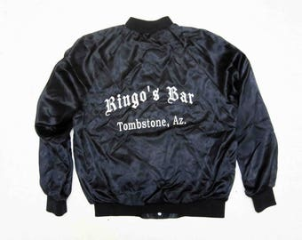 "Vintage ""Ringo's Bar"" Tombstone, AZ Nylon Jacket in Black. Circa 1980's."