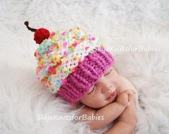 Cupcake Hats, Newborn Girl Hat, Newborn Girl Photo Prop, Newborn Cupcake Hat, Knit Baby Cupcake Hat, Baby Girl Hat, Newborn Photo Prop
