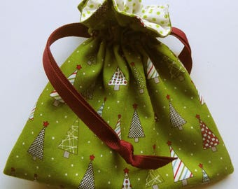 Christmas Lined Drawstring Fabric Gift Bag Jewelry