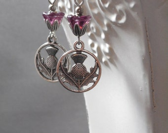 Scottish Thistle Earrings - Assemblage Earrings - Reign Jewelry - Cosplay Jewelry - Gift for Her - Woodland Jewelry - Womens Jewelry