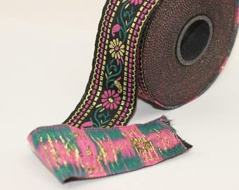 35 mm Black & Pink Floral Jacquard ribbon (1.37 inches) - Jacquard trim  - Sewing Trim - Collar Trim, Ribbon by the yards, Vintage ribbon