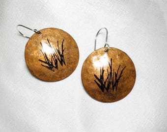Copper Circle Earrings with Grass