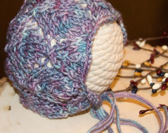 Hand Knit Newborn Bonnet/Blue and Purple Hand Dyed Variegated Yarn/Photo Prop