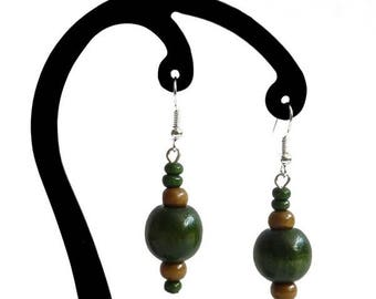 Dark green and light brown wood earrings