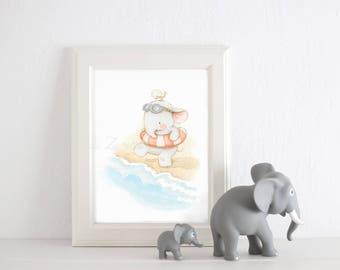 """Art print """"SUMMER ELEPHANT"""" Summer art print, Nursery wall art, Nursery sea art, Elephant nursery art, Beach art, Aida Zamora."""