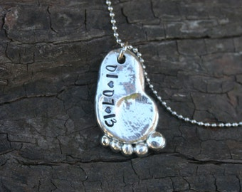 Hand Stamped pewter baby foot necklace - new baby - baby loss