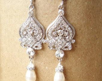 Chandelier Bridal Earrings, Vintage Wedding Earrings, Pearl Drops, Art Deco Bridal Jewelry, Old Hollywood Wedding Jewelry, JACQUELINE