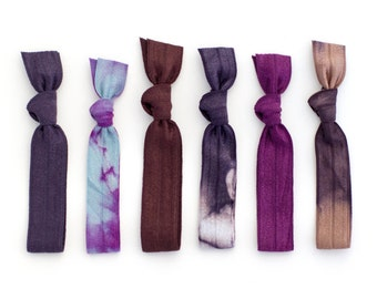 The Winter Solstice Tie Dye Hair Tie Package - 6 Elastic Tie Dye Hair Ties that Double as Bohemian Chic Bracelets by Mane Message on Etsy