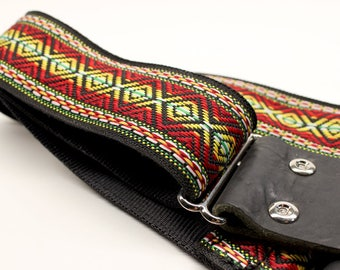 Guitar Strap, Black, Red, Green, Pattern, Woven Guitar Strap, Seat Belt, Embroidered Strap, Design, Acoustic Strap, Guitar, Bass Guitar
