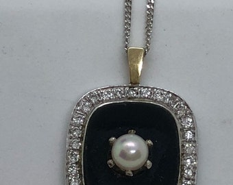 Onyx, diamond and pearl necklace