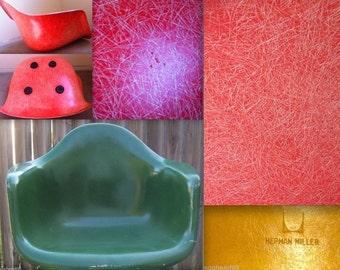 2 EAMES SALMON ORANGE + Forest Green Parchment Fiberglass Armshells Vintage Herman Miller chair logo embossed armchair Alexander Girard era