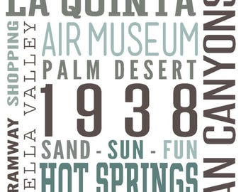 Palm Springs, California - Typography - Lantern Press Artwork (Art Print - Multiple Sizes Available)