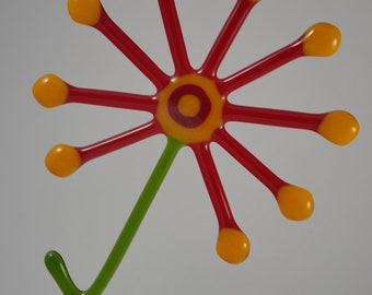 Red and yellow Fused glass Flower suncatcher