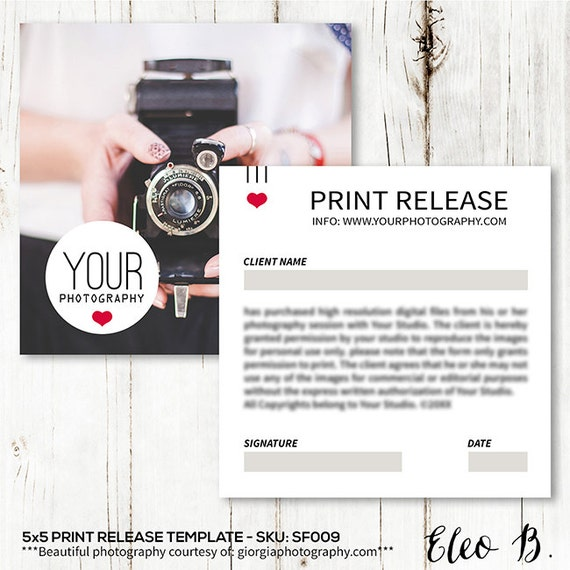 X Print Release Form Print Release Card Template