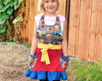 Farm Apron, girl apron, kids apron