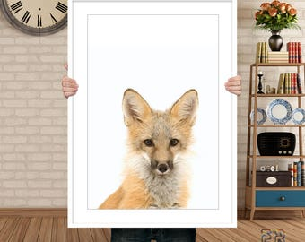 Fox Print, Woodland Wall Art, Fox Art, Animal Nursery Print, Woodland Fox, Fox Photo, Large Poster, Fox Nursery Decor, Animal Wall Art, Fox