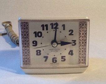 Westclox Dialite Electric Alarm Clock, no. 22138 1970's Electric Tested Working Mid Century