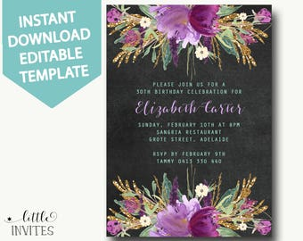 30th birthday invitation template/instant download/birthday invitation for women/chalkboard/floral/gold/purple/Editable template-Elizabeth