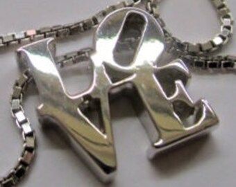 LOVE Park- LOVE Sculpture -LOVE Statue -I love you necklace in sterling silver