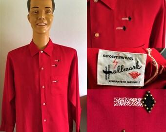 ORIGINAL 1950'S HALLMARK Red Shirt