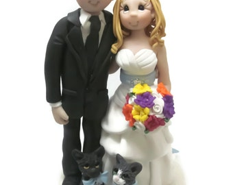 Custom cake topper, Cat Lovers wedding cake topper, Bride and Groom cake topper, Mr and Mrs cake topper, personalized cake topper
