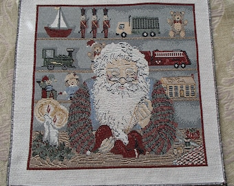Christmas Holiday Santa ClausToy Workshop Tapestry Panel
