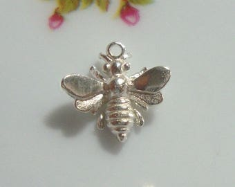 1 pc, 12x13 mm, Honey Bee Charm, lovely, timeless and so cute, Sterling Silver 3D Honey bee Charm, PC-0002A