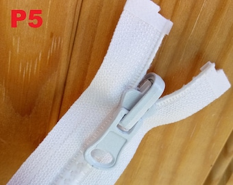 Large zipper White Simple separable zipper or Double slider classic Reversible plastic injected No5 40 to 100cm