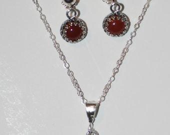 Sterling Silver Carnelian Earrings and Pendant Set