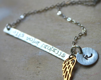 Sale. Sterling Silver and 14K Gold Wing.  Alis Volat Propriis Necklace. She Flies With Her Own Wings. Latin Quote. Inspriational