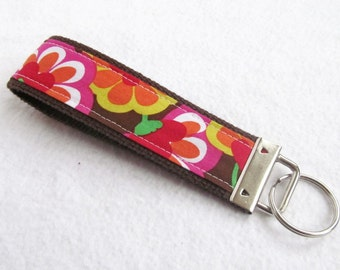 KeyFob Key Chain Wristlet - Shadow Flower - Fabric Keychain
