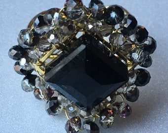 Handcrafted Crystal Ring (Jet & Smoky Quartz)