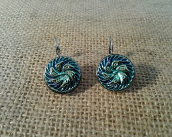 Stunning Czech Glass Button Leverback Earrings Icy Blue Stainless Steel