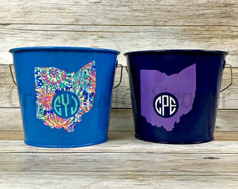 Personalized Bucket, Monogrammed Bucket, Galvanized bucket, Easter Basket, Easter Bucket, Trick or Treat  Teacher Gift, Bridesmaids Gift