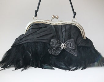 Black Feather Clutch, Feather Evening Bag with Bow, Gatsby Wedding Purse (Frogfeathers)
