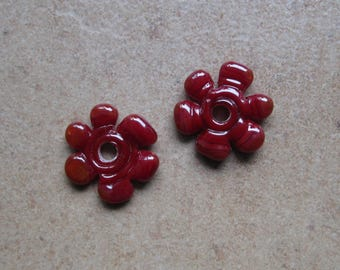 Lampwork Beads - SueBeads - Disc Beads - Disc Flowers - Red Cut Disc Flower Bead Pair - Handmade Lampwork Beads - SRA M67