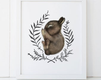 Sleeping Baby Bunny Print 8x10, Watercolor Woodland Nursery Print