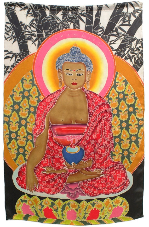 """Batik hand painted Buddha wall hanging with bamboo background. 100% charmeuse silk. 21""""x35"""""""