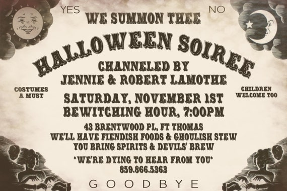 HALLOWEEN Invitation Adult Ouija Board By KidsPartyPrintables