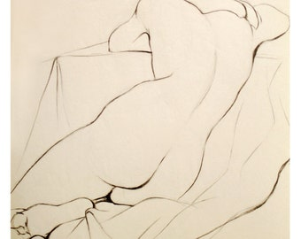 """Charcoal Pencil Nude Drawing of a Woman Sleeping, Art Archival Giclee Print - Whisper, 8""""x10""""."""