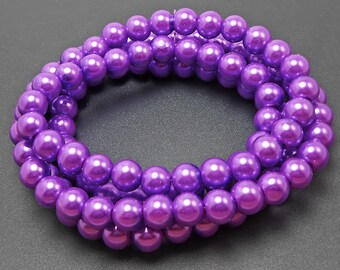 50 Purple Glass Pearl Beads 8mm round (H2387)