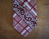 1960's Vintage Plaid, Paisley, and Floral Necktie   Men's Formal Wear   Prince Igor for Gimbels   Mixed Pattern Menswear   Crimson Red